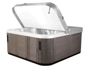 Hot tub with Ash cabinet color, with cover lifted.