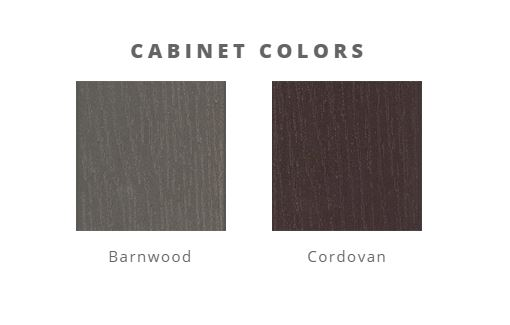 Two color boxes are next to each other, showing Barnwood and Cordovan cabinet color options.