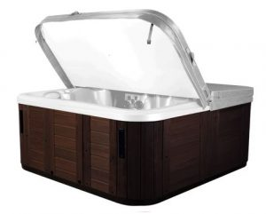 Hot tub with Espresso cabinet color, with cover lifted.