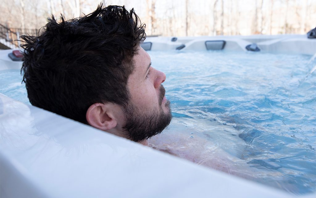 Ryan Truex relaxes in his V94L hot tub.